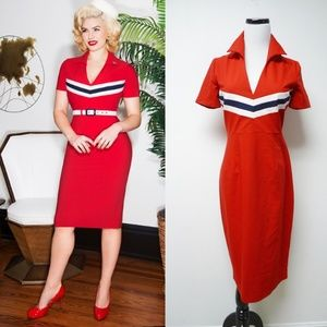 Glamour Bunny June red pencil dress